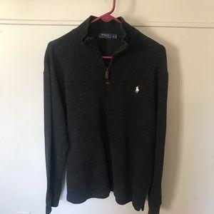 Polo Ralph Lauren grey 1/4 zip pullover sweater LG